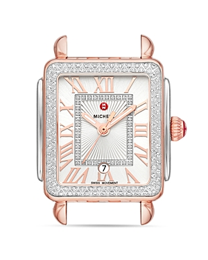 Michele  DECO MADISON MID TWO-TONE ROSE GOLD DIAMOND WATCH HEAD, 29MM X 31MM