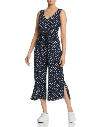 Cropped Dot Print Jumpsuit   100 Percents Exclusive by Three Dots