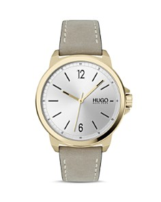 HUGO - #LEAD Beige Leather Strap Watch, 42mm