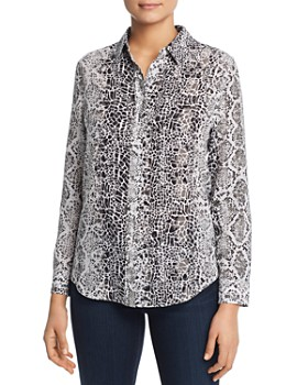 Relative Pi - Snake Print Silk Button Front Top
