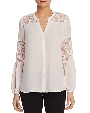 Karl Lagerfeld Tops LACE TRIM BLOUSE