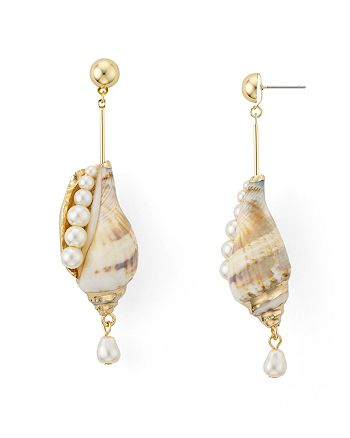 AQUA - Shell & Cultured Freshwater Pearl Drop Earrings - 100% Exclusive
