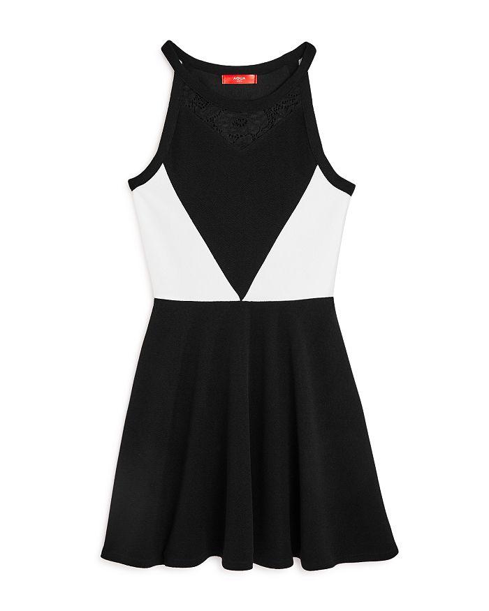 AQUA - Girls' Color-Block Fit-and-Flare Dress, Big Kid - 100% Exclusive