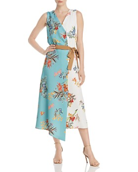 161919a128 Marella - Elfo Asymmetric Color-Blocked Floral Midi Dress - 100% Exclusive  ...
