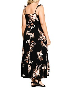 City Chic Plus - Sleeveless Floral-Print Ruffled Maxi Dress