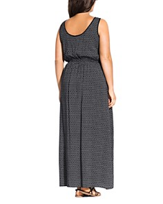 City Chic Plus - Sleeveless Printed Maxi Dress