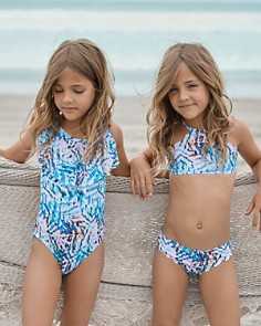 PilyQ - Girls' Palm Print Cutout One-Piece Swimsuit - Little Kid, Big Kid