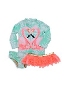 Shade Critters - Girls' Flamingo Rash Guard Top, Bottom & Swim Tutu Set - Little Kid