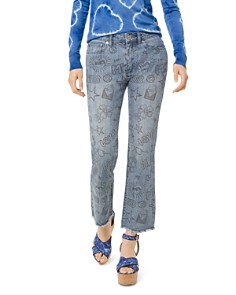 MICHAEL Michael Kors - Summer Camp High Rise Cropped Flared Graphic Jeans in Light Vintage Wash