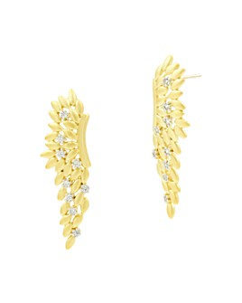 Freida Rothman - Fleur Bloom Angel Wing Earrings in 14K Gold-Plated & Rhodium-Plated Sterling Silver