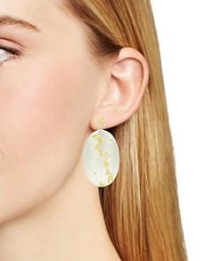 Freida Rothman - Fleur Bloom Large Oval Drop Earrings in 14K Gold-Plated & Rhodium-Plated Sterling Silver