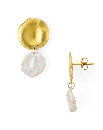 Chan Luu - Cultured Freshwater Pearl Dangle Drop Earrings in 18K Gold-Plated Sterling Silver