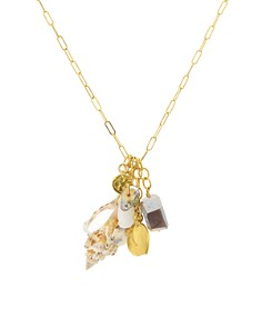 Chan Luu - Cultured Freshwater Pearl & Shell Dangling Pendant Necklace in 18K Gold-Plated Sterling Silver, 18""