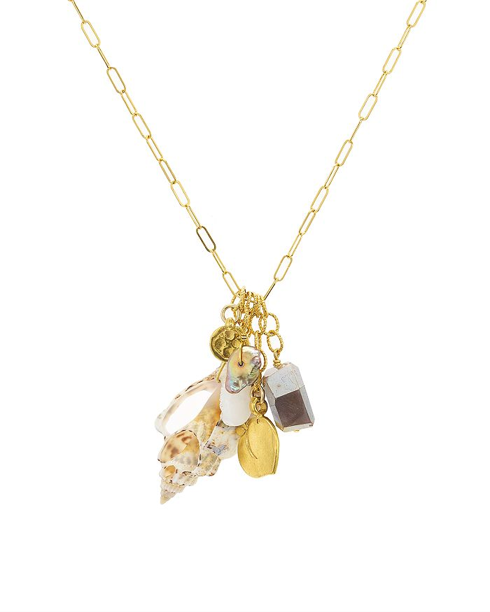 """Chan Luu - Cultured Freshwater Pearl & Shell Dangling Pendant Necklace in 18K Gold-Plated Sterling Silver, 18"""""""