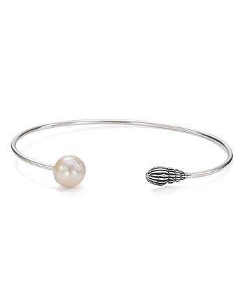 Chan Luu - Cultured Freshwater Pearl Thin Bangle Bracelet in Sterling Silver