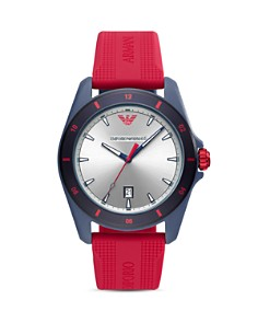 Emporio Armani - Sigma Red Silicone Strap Watch, 44mm