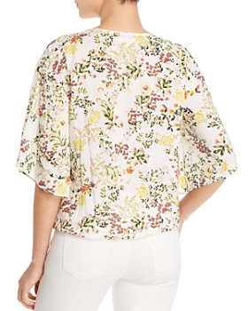 Cupio - Floral-Print Tie-Front Top