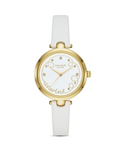 kate spade new york - Holland White Leather Strap Watch, 34mm