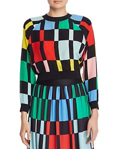 Alice and Olivia - Calvin Geometric Print Cropped Sweatshirt