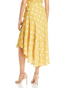 AQUA - Polka Dot Asymmetric Wrap Skirt - 100% Exclusive