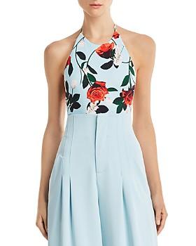 Alice and Olivia - Danique Rose Print Halter Bodysuit ... 6f45fa75df6f