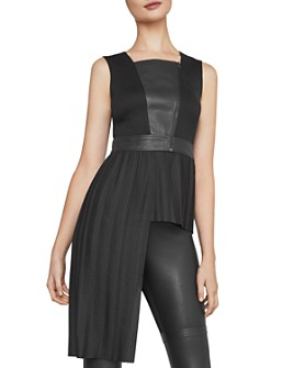 BCBGMAXAZRIA - Asymmetric Mixed-Media Top