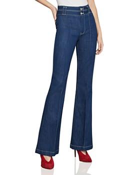 BCBGMAXAZRIA - Pintuck Flared Jeans in Rinse Wash