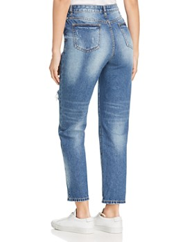 Karen Kane - Distressed High Rise Girlfriend Jeans in Denim