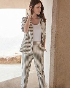 Karen Kane - Striped Ruched-Sleeve Blazer
