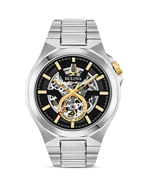 Maquina Silver-Tone Link Bracelet Automatic Watch