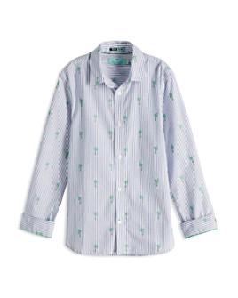 Scotch Shrunk - Boys' Palm Tree-Embroidered Stripe Button-Down Shirt - Little Kid, Big Kid