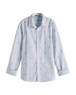 Scotch Shrunk Boys' Palm Tree-Embroidered Stripe Button-Down Shirt - Little Kid, Big Kid