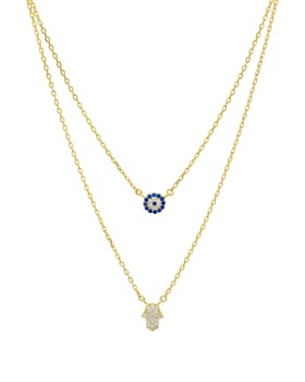 49d795afbe01 AQUA - Double Strand Hamsa Pendant Necklace in 14K Gold-Plated Sterling  Silver or Sterling ...