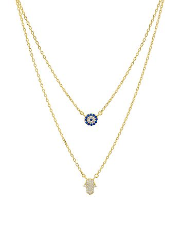"AQUA - Double Strand Hamsa Pendant Necklace in 14K Gold-Plated Sterling Silver or Sterling Silver, 14""-16"" - 100% Exclusive"