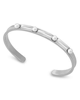 Majorica - Simulated Pearl Studded Thin Cuff Bracelet