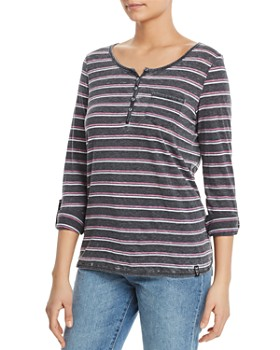 Marc New York - Striped Henley Top