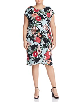 ad5698fabe7 Adrianna Papell Plus - Cap-Sleeve Hibiscus-Print Dress ...