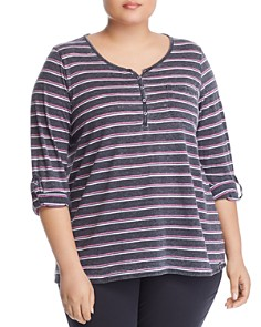 Marc New York Plus - Striped Henley Top