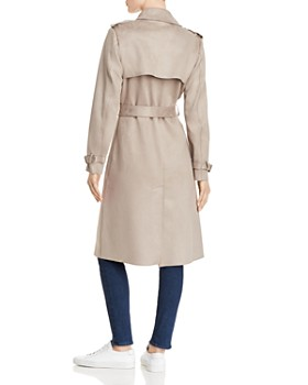 T Tahari - Faux Suede Trench Coat