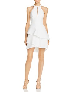BCBGMAXAZRIA - Flounced Crepe Cocktail Dress