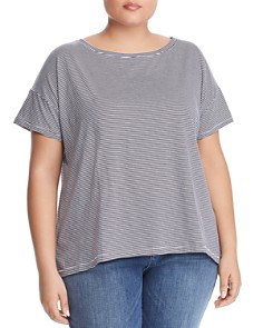Eileen Fisher Plus - Striped Organic-Cotton Tee