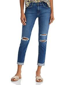 AG - Prima Cuffed Slim Jeans in Crystal Clarity Destructed - 100% Exclusive