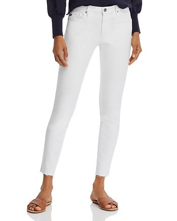 AG - Ankle Legging Raw-Hem Jeans in White - 100% Exclusive