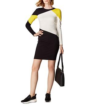 KAREN MILLEN - Color-Block Paneled Ponte Dress