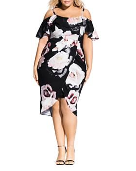 d1207a7b68 City Chic Plus - Floral-Print Cold-Shoulder Dress ...