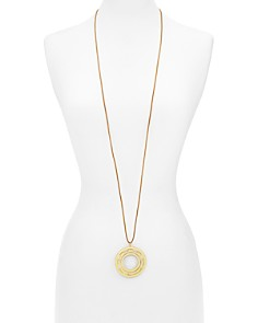 """Tory Burch - Serif T-Spinning Pendant Necklace, 50"""""""