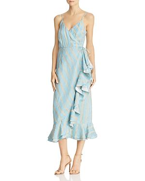 Paper London Dresses STRIPED MIDI WRAP DRESS