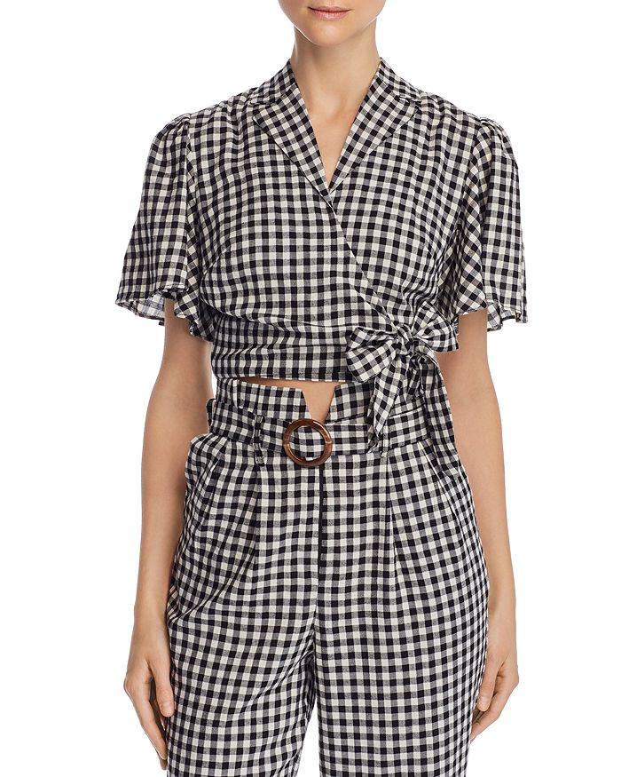 leRumi - Violet Cropped Gingham Wrap Top