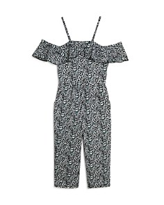 AQUA - Girls' Leopard Print Cold-Shoulder Jumpsuit, Big Kid - 100% Exclusive