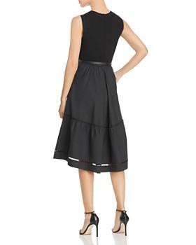 Elie Tahari - Stephanie Mixed Media Belted Dress